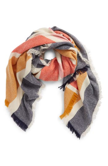 Women's Madewell Stripe Blanket Scarf, Size One Size - Blue
