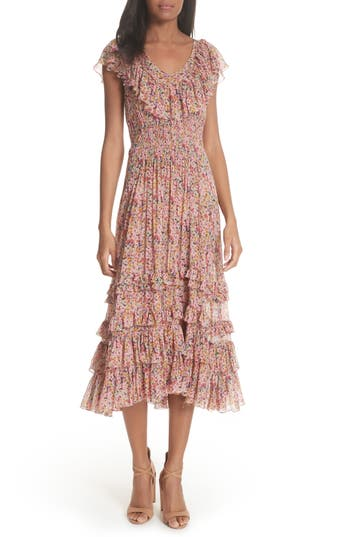 Rebecca Taylor Margo Floral Ruffled Midi Dress, Pink