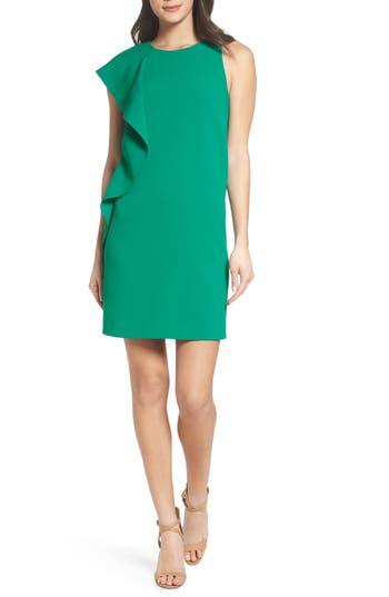 Women's Chelsea28 Asymmetrical Ruffle Shift Dress, Size 0 - Green