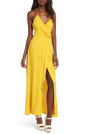 Leith Faux Wrap Maxi Dress, Yellow