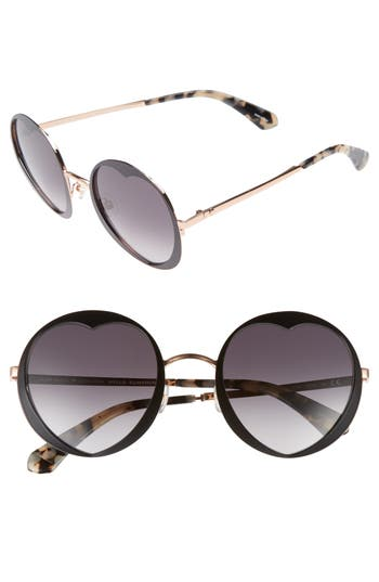 Women's Kate Spade New York Rosaria 53Mm Heart Cutout Lens Sunglasses - Black/ Spotted Havana/ Grey