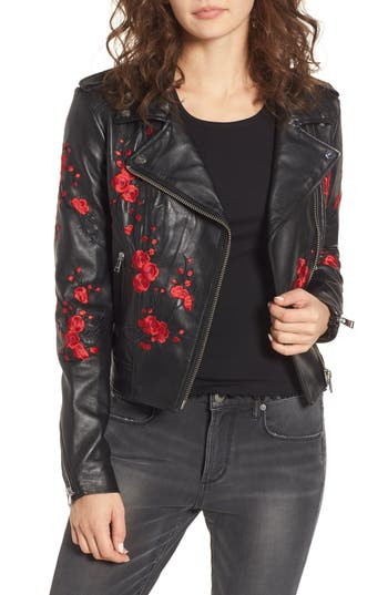 LAMARQUE EMBROIDERED LEATHER MOTO JACKET
