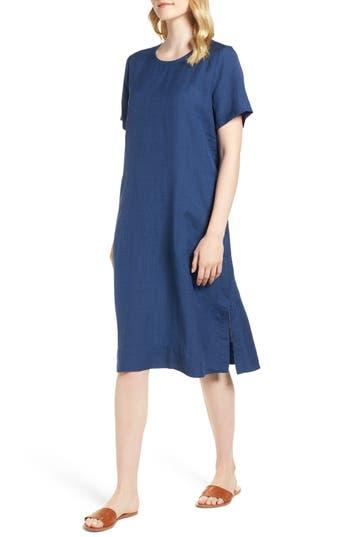Eileen Fisher Linen Blend Shift Dress, Blue