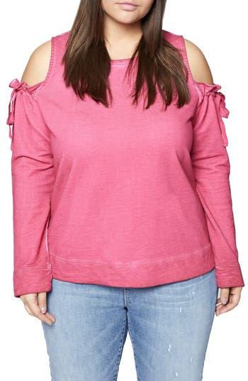 Plus Size Women's Sanctuary Parkside Cold Shoulder Sweatshirt, Size 1X - Pink