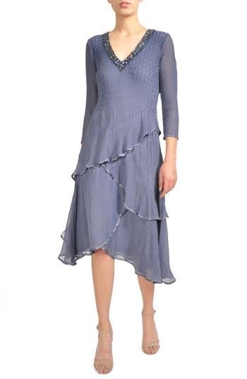 Komarov Tiered Chiffon A-Line Dress