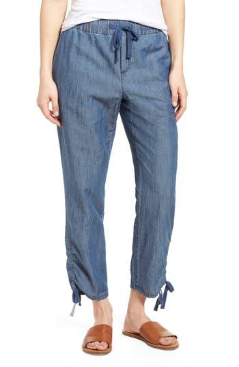 Caslon Side Ruched Crop Pants, Blue