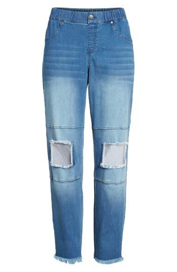Hue Fishnet Knee Patch Denim Skimmer Leggings, Blue