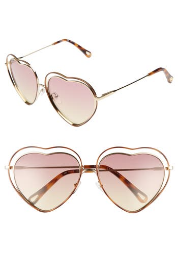 Women's Chloe Poppy Love Heart Sunglasses - Havana/ Rose Honey