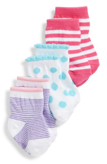Infant Girl's Robeez Pretty Dot 3-Pack Socks, Size 0-6months - Pink