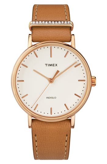 Timex Fairfield Leather Strap Watch, 37Mm