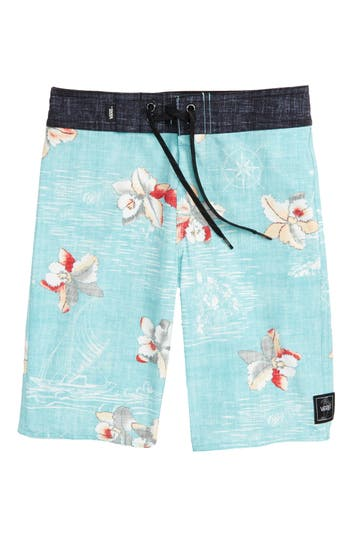 Boy's Vans Hawaii Floral Board Shorts, Size 22 - Blue