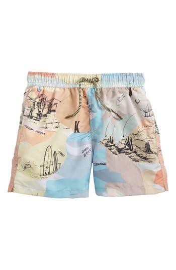 Boys Scotch Shrunk Print Swim Trunks Size 14  Beige