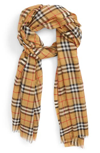 Burberry Vintage Check Wool & Silk Gauze Scarf