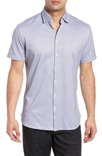 Men's Stone Rose Contemporary Fit Geo Tech Sport Shirt, Size 2(s) - White