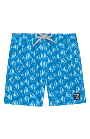 Boys Tom  Teddy Boat Print Swim Trunks Size 56Y  Blue