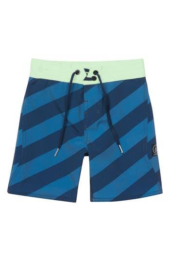 Boys Volcom Stripey Board Shorts Size 7X  Blue