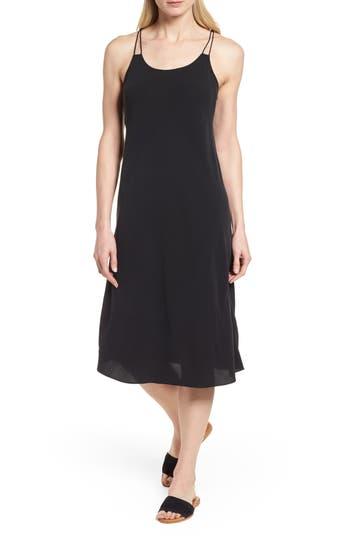 Eileen Fisher Double Strap Silk Slipdress, Black