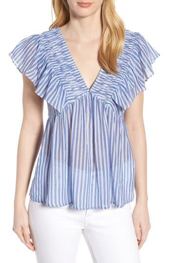 women's lucky brand striped flutter top, size large - blue