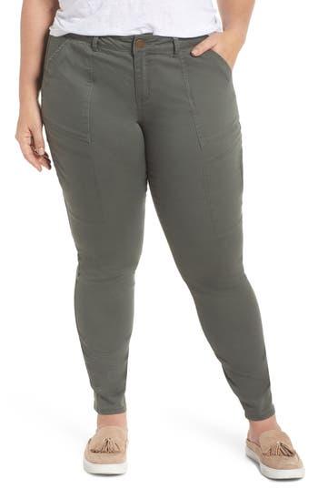 Plus Size Wit & Wisdom Flex-Ellent Stretch Cotton Cargo Pants, Green