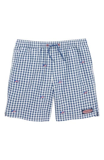 Boys Vineyard Vines Chappy Gingham Flag Whale Swim Trunks Size 7  Blue