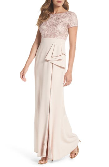 Adrianna Papell Embroidered Bodice Mermaid Gown, Pink