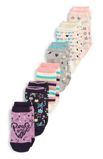 Girls Tucker  Tate Rainbow 6Pack Crew Socks Size 925  White