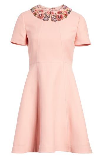 Valentino Embellished Collar A-Line Dress, Pink