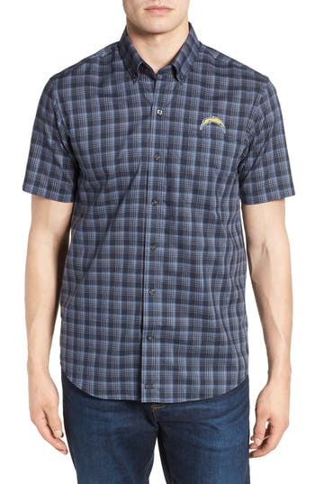 Men's Cutter & Buck Los Angeles Chargers - Fremont Regular Fit Check Sport Shirt