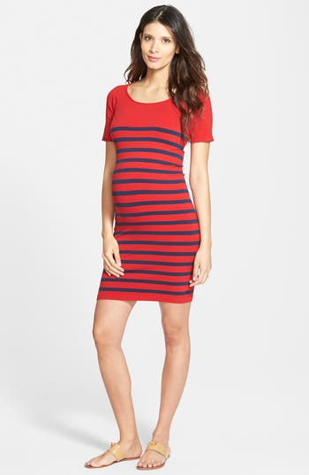 Women's Tees By Tina 'Nautical' Short Sleeve Maternity Dress, Size One Size - Red