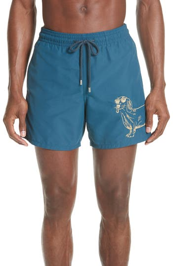 Vilebrequin Embroidered Sunny Dog Swim Trunks, Blue