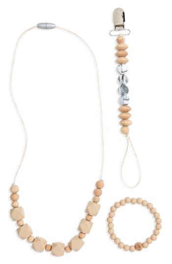 Infant Bella Tunno Teething Necklace Bracelet  Pacifier Clip Set