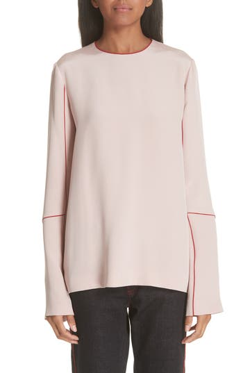 CONTRAST STITCH SILK BLOUSE