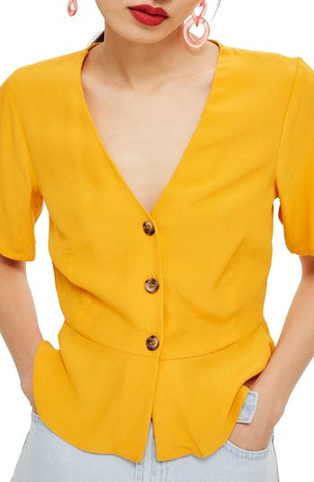 Women's Topshop Bryony Tea Button Front Blouse, Size 12 US (fits like 14) - Yellow