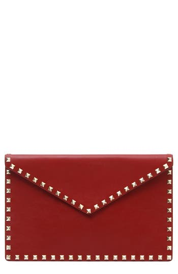 VALENTINO GARAVANI Large Rockstud Leather Envelope Clutch
