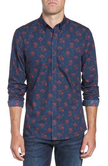 Nordstrom Men's Shop Slim Fit Print No-Iron Sport Shirt