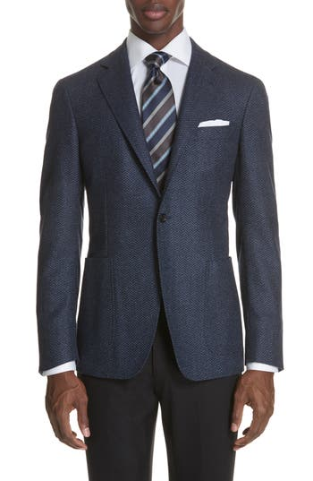 Canali Classic Fit Herringbone Wool Sport Coat