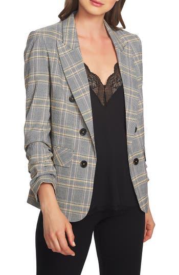1.STATE Menswear Plaid Ruched Sleeve Blazer