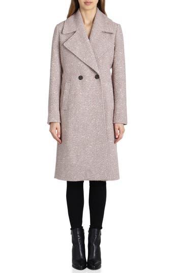 Women's Badgley Mischka Notch Collar Boucle Wool Blend Coat, Size X-Small - Beige