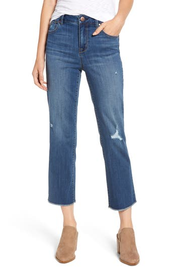 Women's 1822 Denim Distressed Crop Straight Leg Jeans, Size 29 - Blue