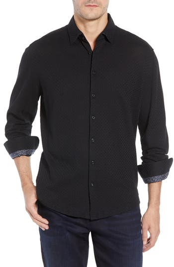 Men's Stone Rose Trim Fit Basketweave Sport Shirt, Size X-Large - Black