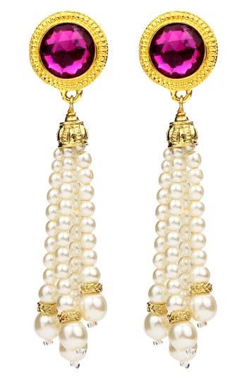 Ben-Amun Crystal & Imitation Pearl Tassel Clip Earrings