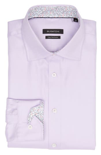 Men's Bugatchi Trim Fit Solid Dress Shirt, Size 15 - Purple
