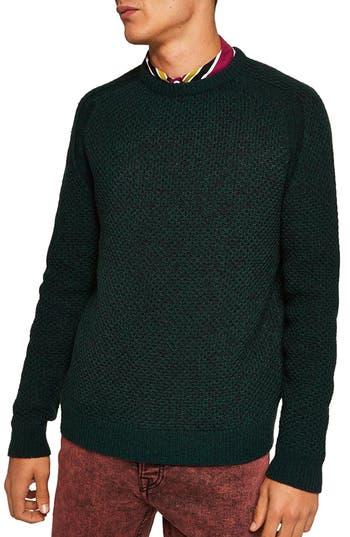 Topman Honeycomb Classic Fit Crewneck Sweater