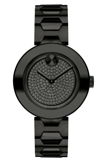 Movado Bold Pavé T-Bar Bracelet Watch, 32mm
