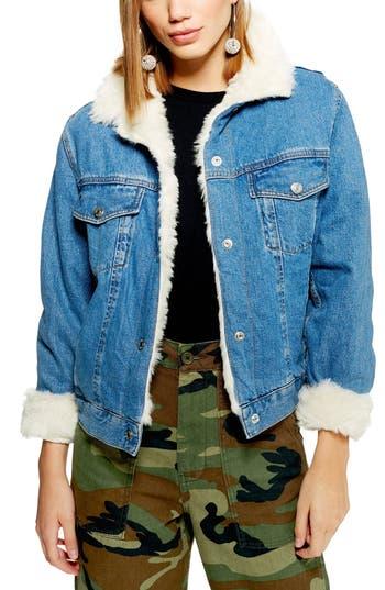 Topshop Faux Fur Denim Jacket