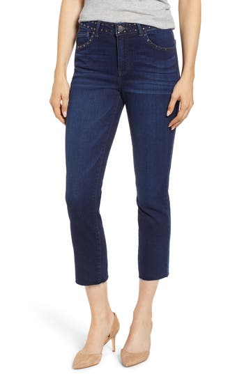 Wit & Wisdom Studded High Waist Straight Leg Jeans