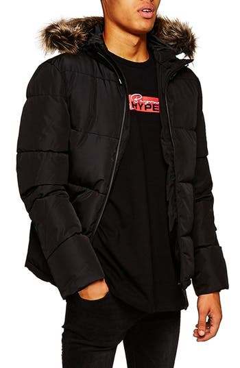 Topman Marling Faux Fur Collar Puffer Jacket