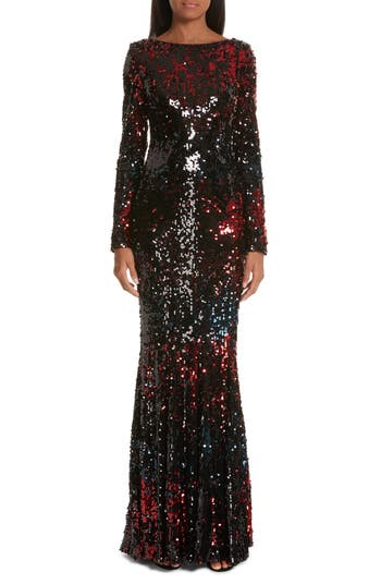 Talbot Runhof Vulcano Sequin Evening Dress