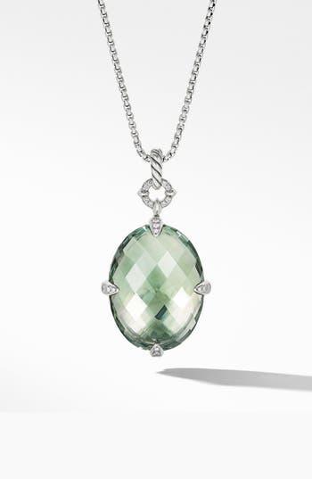 David Yurman Statement Prasiolite Pendant Necklace with Diamonds