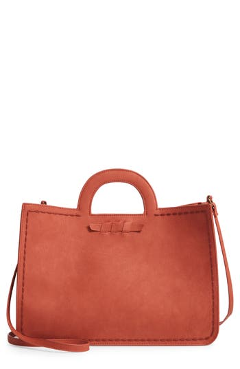 T-Shirt & Jeans Faux Leather Top Handle Tote Bag